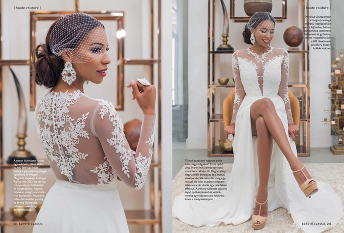 Modern wedding dress made of ivory crepe fabric and ivory soft tulle, ivory lace appliqués. Buttons at the back, stunning lace design, beautiful bridal gown. Made to measure, separate top and detachable skirt. Wedding dress with low neck line, bridal skirt with slit
