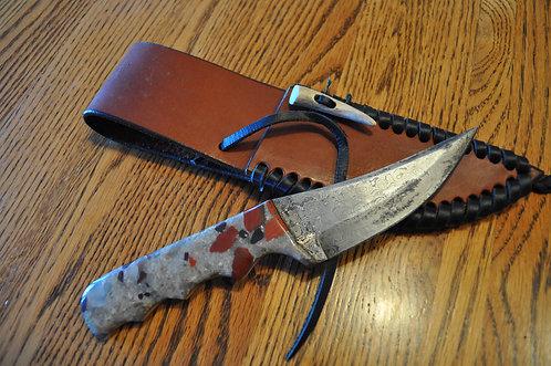 Puddingstone Fingertip Damascus Knife