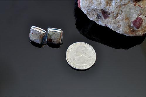 Small Square Puddingstone  Earrings -J3708