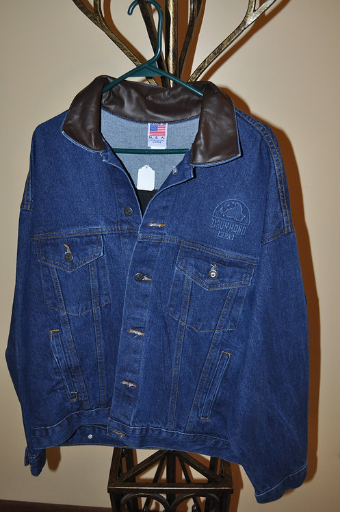 Denim and Leather Jacket with embossed design- AB513