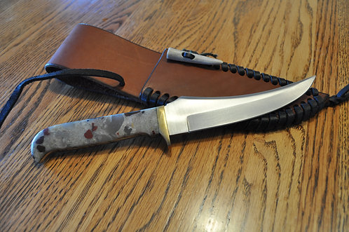 Puddingstone Brass Bent Blade Knife-A563
