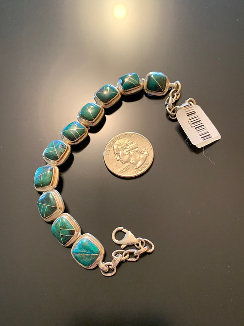 Chrysocolla Inlaid Bracelet #1