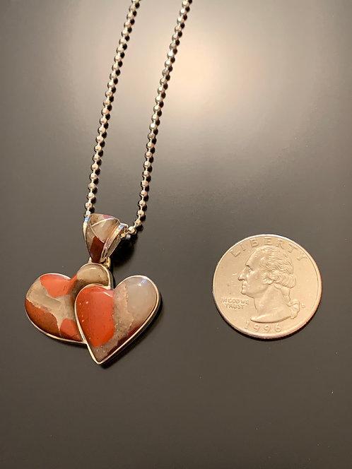 Puddingstone  double heart pendant-5