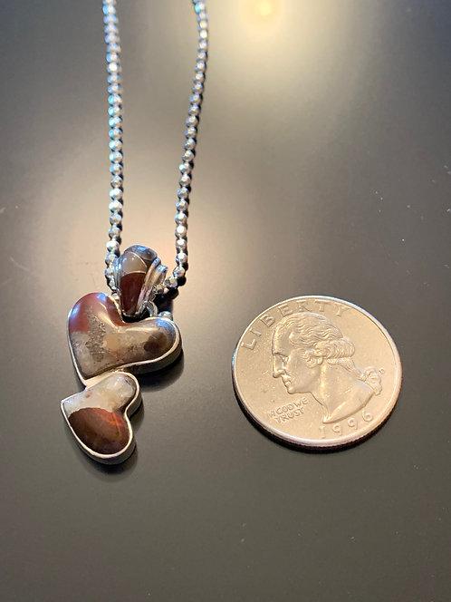 Puddingstone double heart Pendant -24