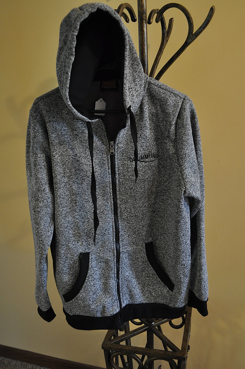 Full zip melange hoodie with black piping- TP10