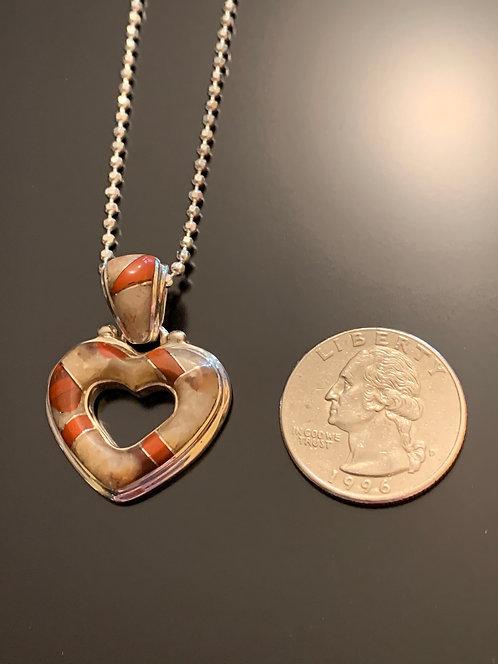 Puddingstone small open heart pendant- 4