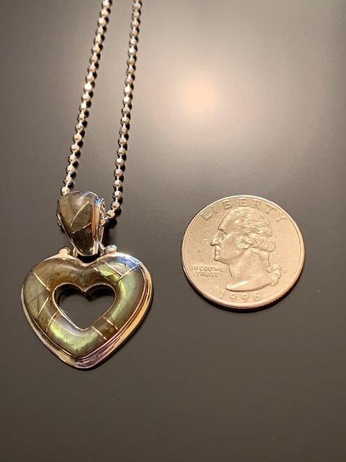 Large open heart Labradorite Pendant #2