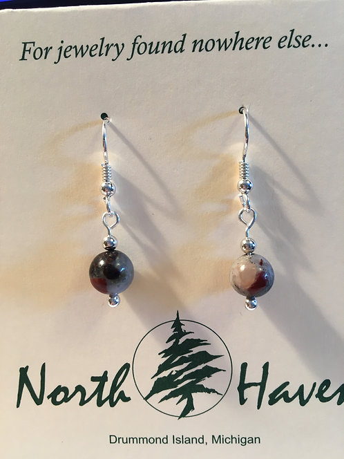 Puddingstone  Bead Earrings -E233