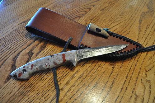 Puddingstone Fingertip Straight Blade Damascus knife-RN01