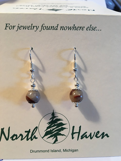 Puddingstone  Bead Earrings -E236
