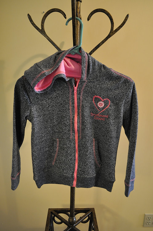 Youth Grey and Pink Full Zip Hoodie -AB502