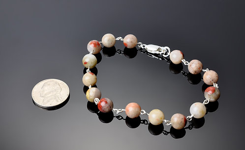 Puddingstone Pearl Bracelet with sterling links