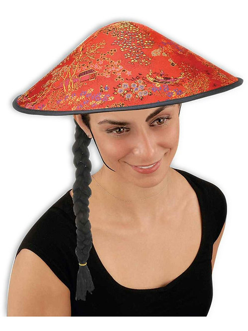 Coolie Conical Asian Hat with Braid