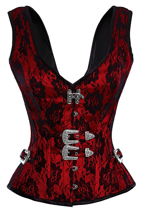 Red Gothic Halter Overbust Corset