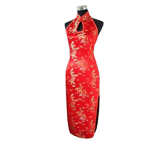 Backless Traditional Long Halter Chinese Dress