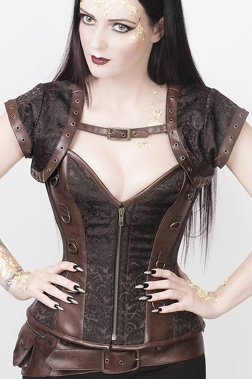 Iris Overbust Brown Steampunk Corset with Jacket and Belt