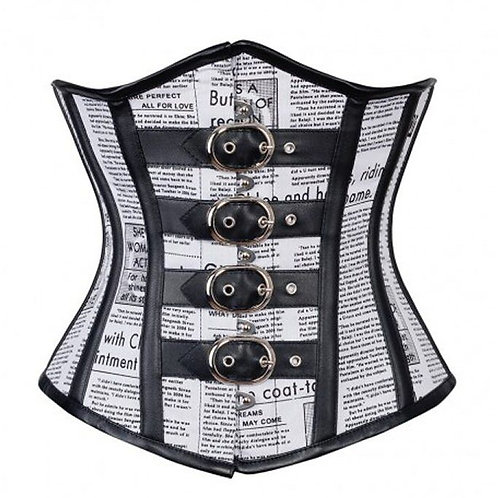 Tina Newsprint Cotton Underbust Steampunk Corset