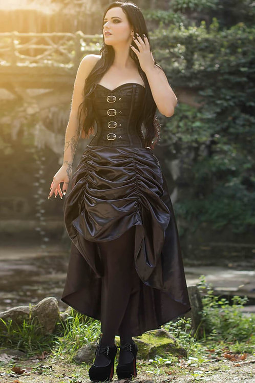Black Overbust Steampunk Corset Dress