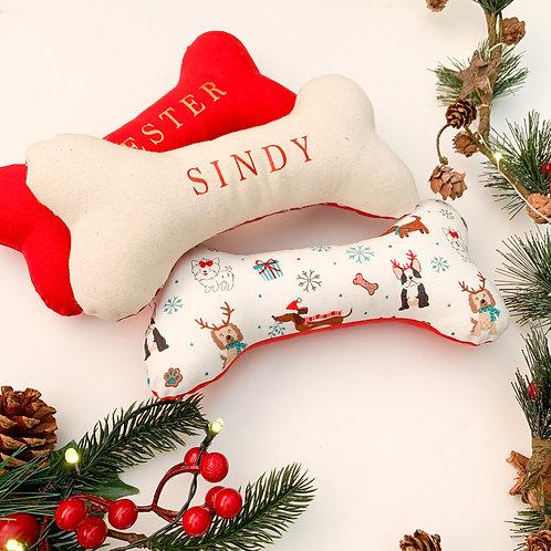Personalised Festive 100% Handmade Dog Bone Toy