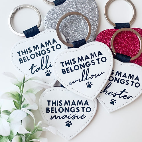 Heart Glitter DOG MAMA Keyring