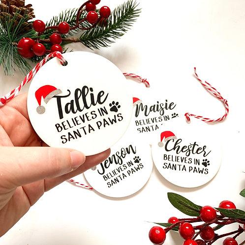 Personalised 'Believes in Santa Paws' Acrylic Bauble