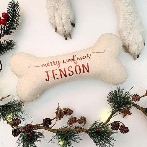 'Merry Woofmas' 100% Handmade Personalised Large Dog Bone Toy