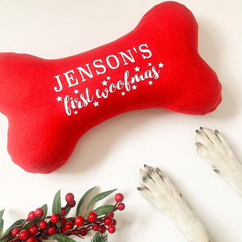 Christmas Red Fleece Personalised 100% Handmade First Christmas Cushion