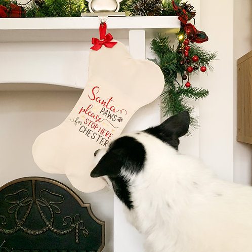 Dog Christmas 100% Handmade Bone Stocking