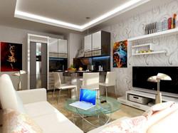 iç mekan tasarımı. salon ve mutfak.