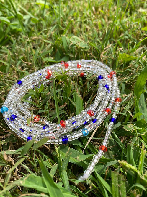 Icy Red & Blue African Waist Beads