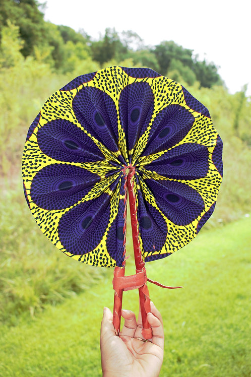 Purple/Yellow Circle Print Fan