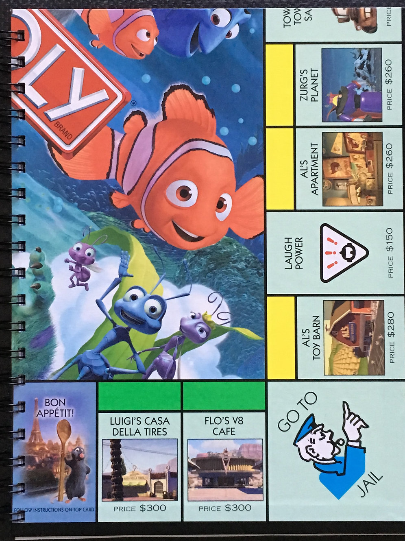 Disney's Pixar Monopoly game board journal/sketchbook/notepad   Tangled In  Tradition