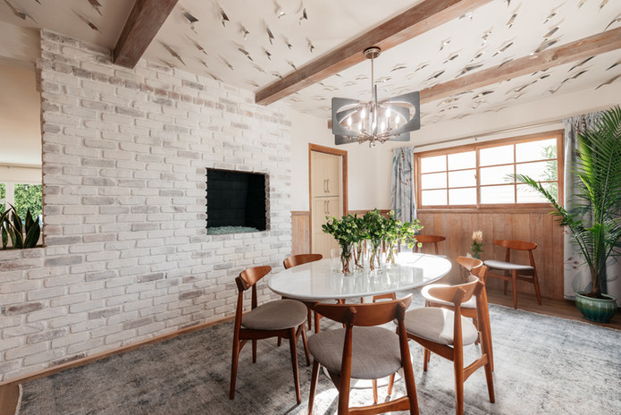 Dining Room with indoor BBQ turned fireplace.