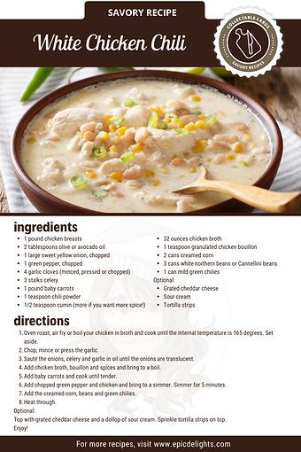 White Chicken Chili Recipe Card
