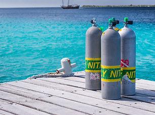 Scuba cylinders on a dock, Bonaire, Netherlands Antilles.jpg