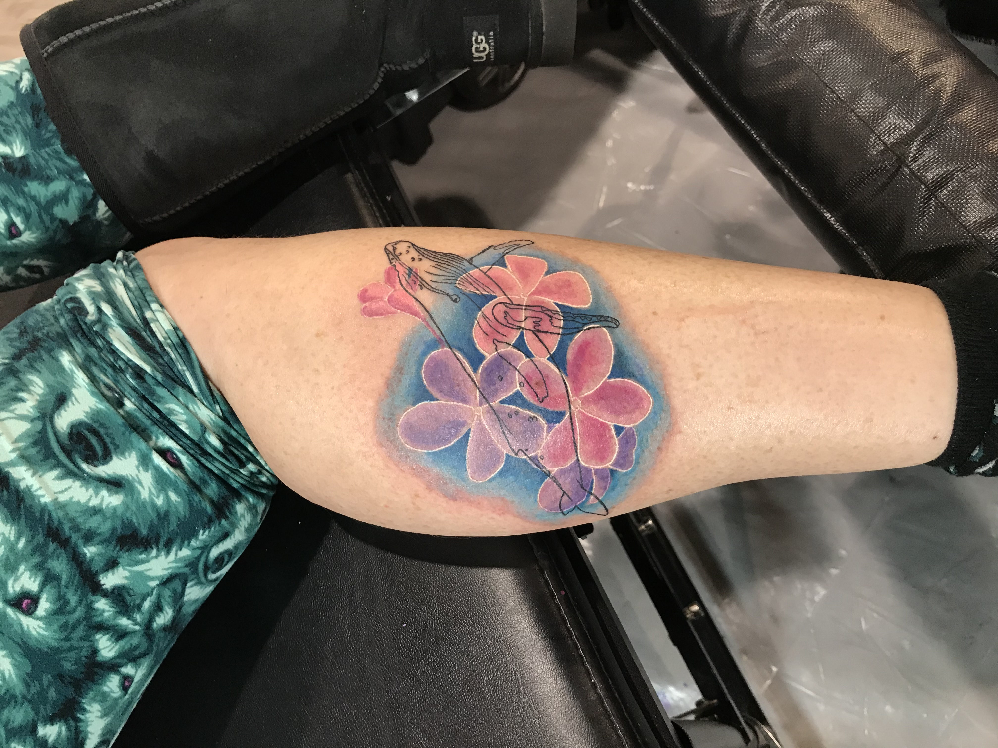 lallentattoo - Whale and Flowers