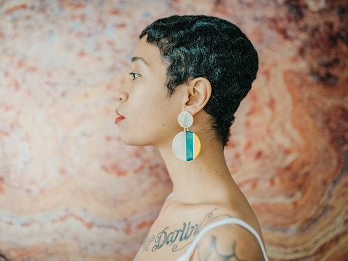 Circle multi-panel earrings