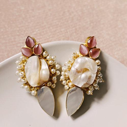 Large Handmade Pearl Beaded Earrings