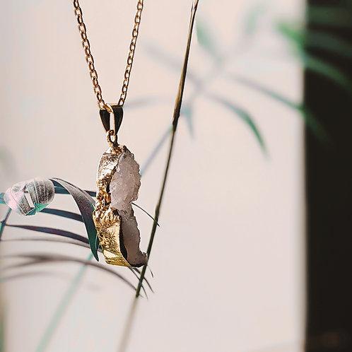 14kt Gold Filled White Druzy Necklace