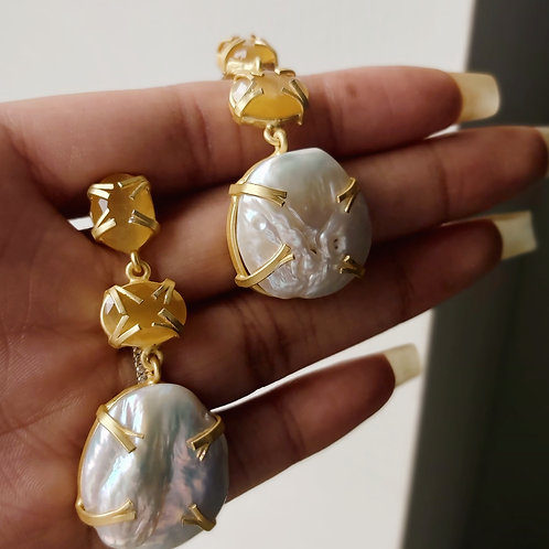 Yellow Stone with Large Pearl Dangle Earrings