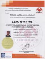 Certificado Psicoterapia Familiar y Constelaciones Familiares
