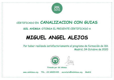 Certificado Canalización Sol Ahimsa y Aulas Pandora
