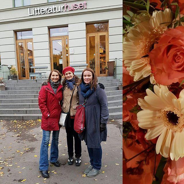 Litteraturhuset i Oslo. Gro Ann Uthaug, Helena Klarén og Eline Holbø Wendelbo før forestillingen 21.10.16