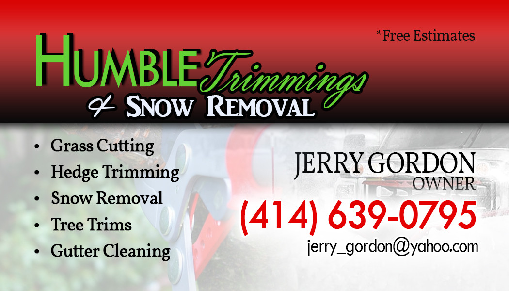 Humble Trimmings & Snow Removal bus card