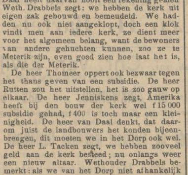 1912  |  GEMEENTERAAD VERDEELD OVER VERSTREKKING SUBSIDIE