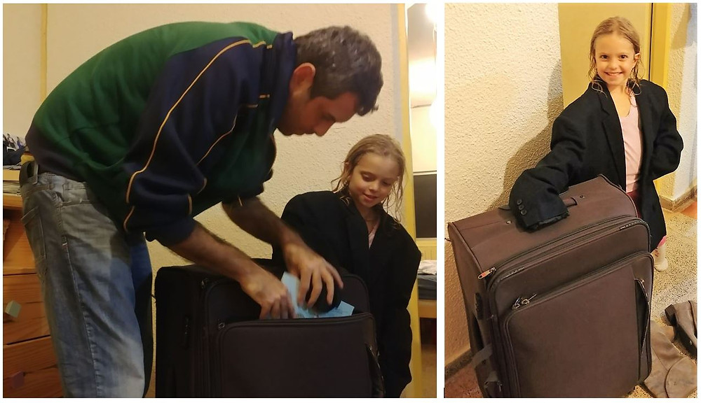 Gilad and his daughter Omer Packing