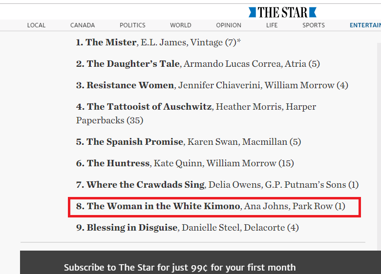 Toronto Star Bestseller