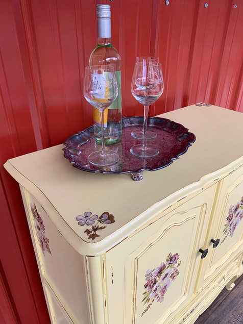 Vintage French provincial cupboard turned shabby chic wine cabinet