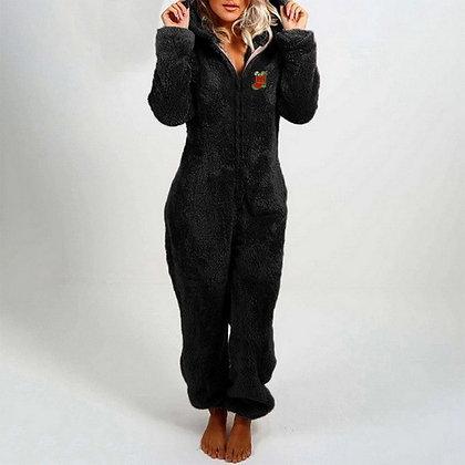 Plush Thick Plush Hooded Jumpsuit