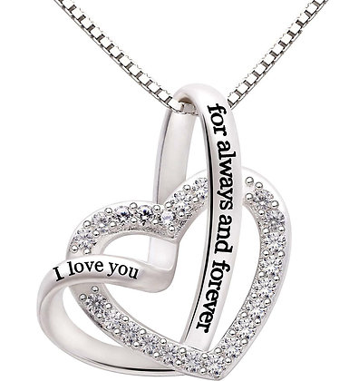 """""""I Love you Forever and Always"""" Heart Necklace"""